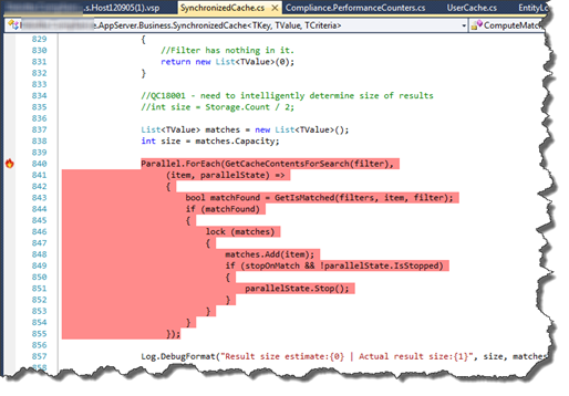 Visual Studio profiler showing hotspot on Parallel.For